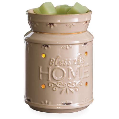 CANDLE WARMERS ETC. Illumination Fragrance Warmer- Light-Up Warmer for Warming Scented Candle Wax Melts and Tarts or Essential Oils to Freshen Room, Bless This Home Cream