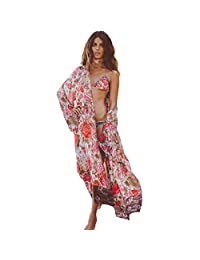 BB&KK Women's Loose Cover Ups Kimono Cardigan Oversized Chiffon Blouses Sheer Tops