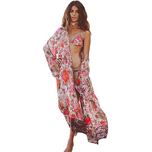 Women Chiffon Kimono Floral Casual Loose Boho Cardigan Thin Coat - 7