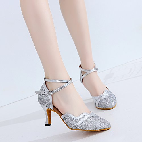 CFP 7110 Womens Salsa Dance Shoes Latin Tango Cha-Cha Ballroom Party Wedding Sudue Sole Kitten Heel Closed Toe PU Ankle Strap Silver o84DPKaaW
