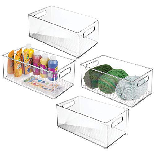 mDesign Stackable Plastic Storage Organizer Bin with Built-in Handles - Holds Craft, Sewing, Art Supplies in Home, Classroom, Studio, Cabinet or Closet - 14.5