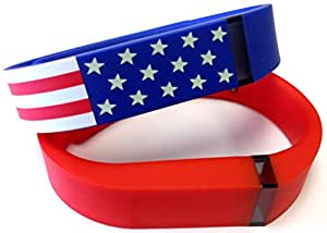 Large 1 American Flag 1 Real Red Band for Fitbit FLEX Only With Clasps Replacement /No tracker/