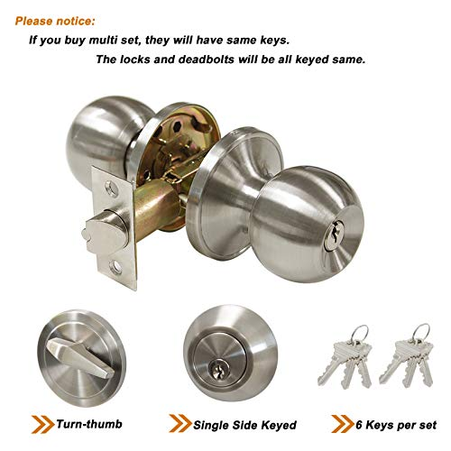 All Keyed Same Entry Door Knobs with Single Cylinder Deadbolt for Exterior Front Doors, Satin Nickel Finish, Keyed Alike for 6 Sets by Knobonly (Image #2)