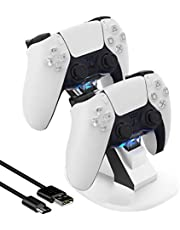 Ermorgen Dual USB Charging Dock Compatible for Playstation 5 Dualsense, Thin and Portable Ps5 Controller Charger- White