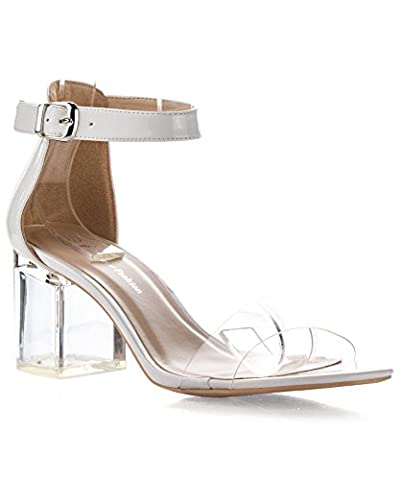 ROF Women's Open Toe Transparent Lucite Heel Ankle Strap Heeled Sandals WHITE (8)