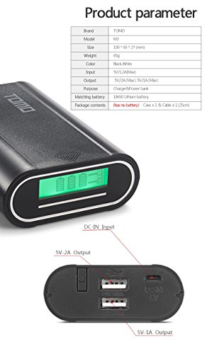 Premium Portable Tomo M3 External Power Bank Battery Charger Box and 2-USB Port DIY Charger Plastic Shell Box with LCD Display (Black-M3)
