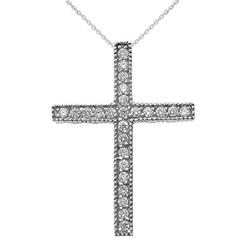 Collier Femme Pendentif 10 Ct Or Blanc Milgrain Bordé Diamant Croix (Livré avec une 45cm Chaîne)