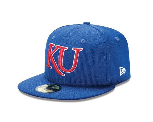 New Era College Baseball Hats - NCAA Kansas Jayhawks College 59Fifty, Blue, 7 5/8