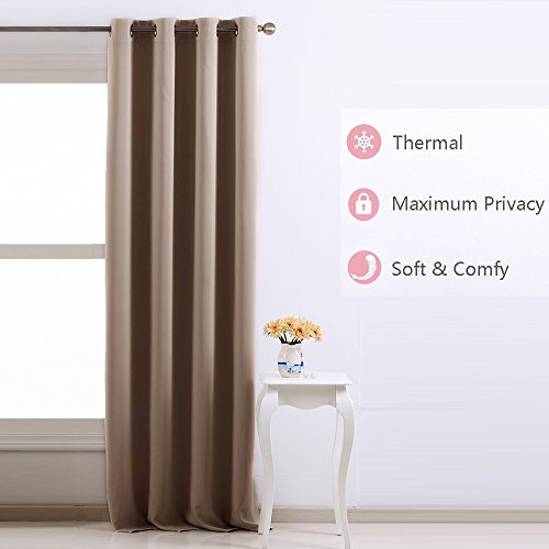 Nicetown Room Darkening Blackout Curtains Window Panel Drapes - (Taupe / Khaki Color) 1 Panel, 52 by 95 Inch each panel, 8 Grommets / Rings per panel (Curtain Double Panels compare prices)