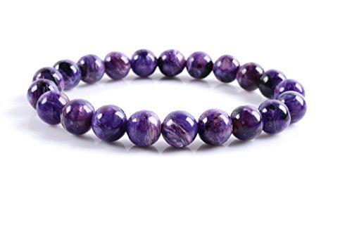 Charoite Gem - Amandastone Gem Semi Precious Gemstone 9mm Natural Russian Charoite Stretch Round Beads Bracelet 7