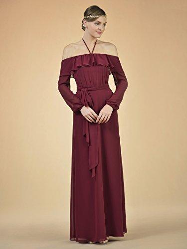 Shoulder Long Bridesmaid Dress Chiffon Pink Alicepub Dress Halter Off Women's The Coral Evening Tfwqv4A