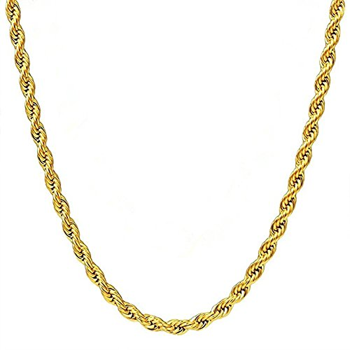 Q&S Jewels 3MM Twist Rope Chain Necklace, 18K Gold Plated Stainless Steel Chain Necklace Links for Men Women, Fashion Jewelry, Wear Alone or with Pendant, ()