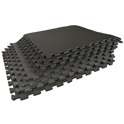 """Best Step Interlocking Comfort Flooring. 8 Pack plus Borders (2' x 2' x 3/8"""") (one Pack of 8 Tiles = 32 sq. ft.) Microban Protected, Charcoal Gray Foam Flooring. Thank you!"""