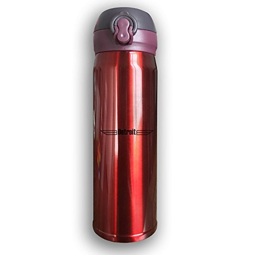 Stainless Water Bottle Custom Detroit Wings,Sports Drinking Bottle,Leak-Proof Vaccum Cup,Travel Mug,With Bounce Cover,Red