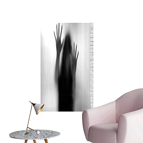 - Wall Stickers for Living Room Silhouette Woman Behind The Veil to Death Obscured Paranormal Gray Vinyl Wall Stickers Print,24