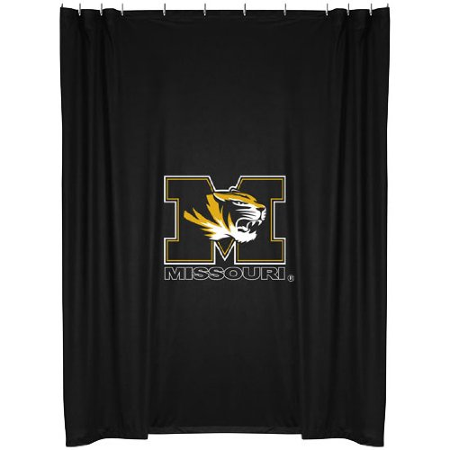 Missouri Tigers COMBO Shower Curtain, 2 Pc Towel Set & 1 Window Valance/Drape Set (84 inch Drape Length) - Decorate your Bathroom & SAVE ON BUNDLING! by Sports Coverage