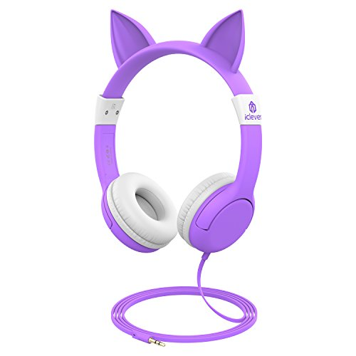 iClever BoostCare Kids Headphones, Cat-Inspired Wired On-Ear Headsets with 85dB Volume Limited, Food Grade Silicone Material, 3.5mm Audio Jack Cable, Halloween for Children, Purple ()