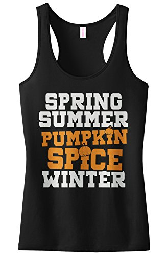 Spring Pumpkin - Threadrock Women's Spring Summer Pumpkin Spice Winter Racerback Tank Top XL Black