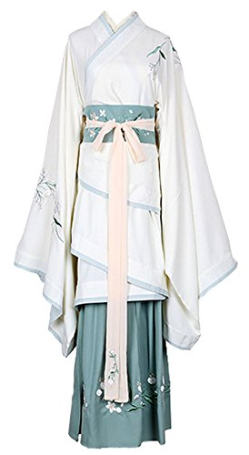 Plaid&Plain Women's Halloween Embroidered Dress Chinese Sweet Hanfu Cosplay