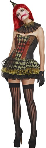 Zombie Clown Costume Uk (Smiffy's Women's Fever Creepy Zombie Clown Costume, Tutu Dress, Hat and Collar, Halloween, Fever, Size 10-12, 43987)