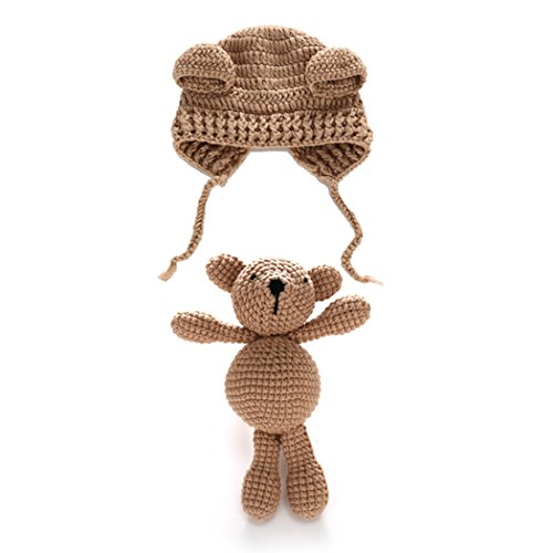 Fascigirl Photography Prop Set, Photography Costume Cute Bear Hat Knit Toy Set for Baby Newborn For Sale