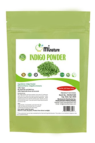 mi nature Indigo Powder -INDIGOFERA TINCTORIA,(100% NATURAL, ORGANICALLY GROWN) 1/2 LB (227 grams) RESEALABLE BAG by mi nature