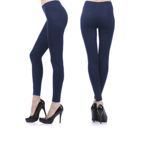 - Womens Ankle Length Footless Tights Pantyhose Seamless Stretch Opaque Navy !