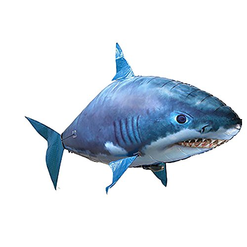 (JEYKAY Remote Control Shark Toys Air Swimming Fish Infrared RC Flying Air Balloons (Blue))