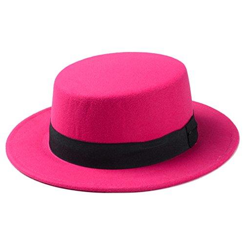 Elee Women Boater Hat Bowler Sailor Wide Brim Flat Top Caps Wool Blend (Hot Pink) -