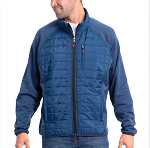- Orvis Men's Mixed Media Full Zipper Quilted Jacket - (True Blue, Large)