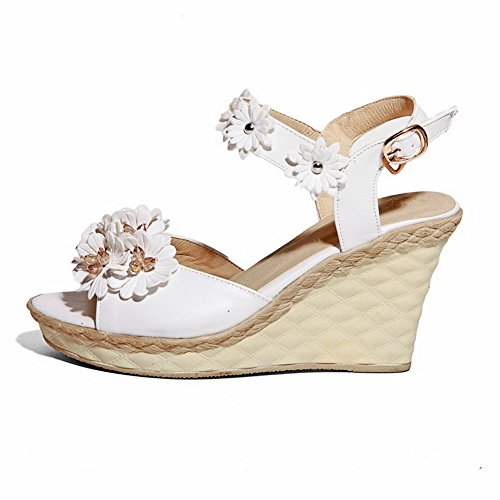 Heels High Toe Sandals AmoonyFashion Leather White Solid Open Buckle Soft Womens wxXqY60T