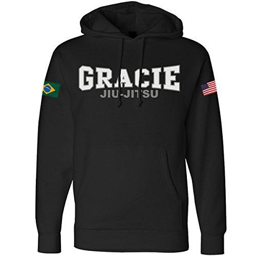 Gracie Jiu-Jitsu Retro Gracie Flag Pullover Hoodie - Small - (Jiu Jitsu Mens Hoodie)