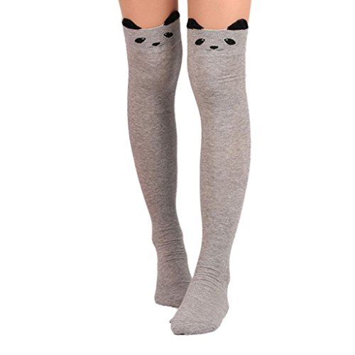 Sock Monkey Plus Size Adult Unisex Costumes (Oksale Women Girls Cute Cat Catoon Long Over Knee High Stocking Sock (Gray))
