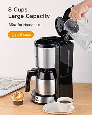 Cafetera Sboly con jarra térmica de acero inoxidable, programable y ajustable, con gran capacidad de 2 a 8 tazas, función antigoteo, compatible con posos de café: Amazon.es: Hogar