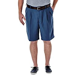 Haggar 41754529487 Men\'s Cool 18 Pleated Front Expandable Short, Bluestone - 44