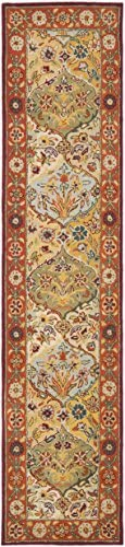 Safavieh Heritage Collection Handcrafted Traditional Oriental Multi and Red Wool Runner 2 3 x 14