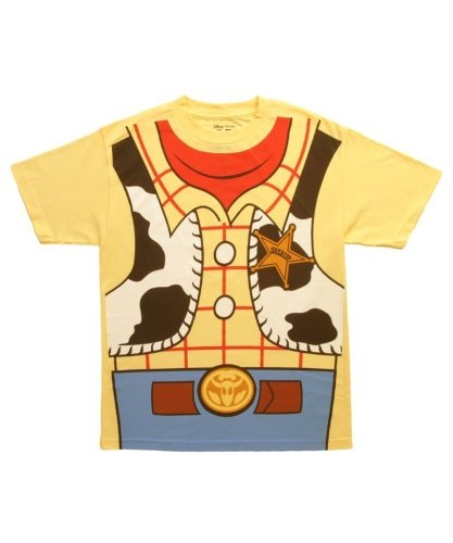 Mighty Fine Toy Story I Am Woody Costume Tee Mens Yellow M (Mens Cowboy Costume Tshirt)