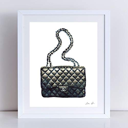 Chanel Bag Art Print Watercolor Painting Wall Home Decor Chanel Handbag Quilted Black Coco Chanel Fashion Illustration Vintage Chanel Preppy Pretty Chic Canvas Unframed