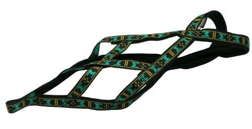 Image of Weight Pulling Sledding Dog Harness X-back Style Black/Green XXLarge, 24.5