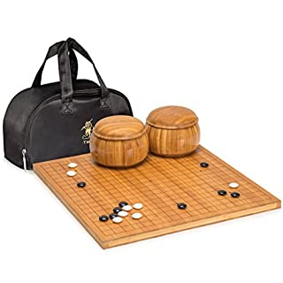 Yellow Mountain Imports Bamboo Etched Reversible 19x19 / 13x13 Go Game Set Board (0.8-Inch) with Double Convex Melamine Stones and Bamboo Bowls