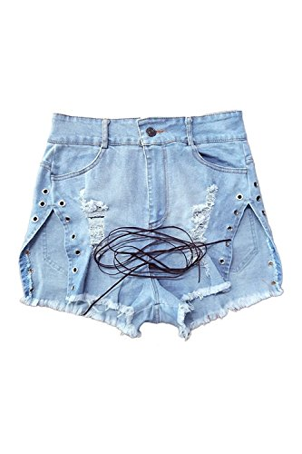 Rela Bota Women's Sexy Summer Stretch High Waist Lace up Ripped Distressed Denim Shorts Jeans X-Large Blue by Rela Bota (Image #3)