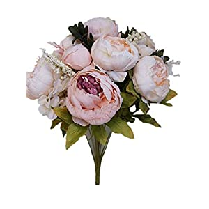 Sweet Home Deco 18'' Super Soft Blooming Peonies and Hydrangeas Silk Artificial Bouquet (13 Stems/6 Flower Heads) (Ivory) 36