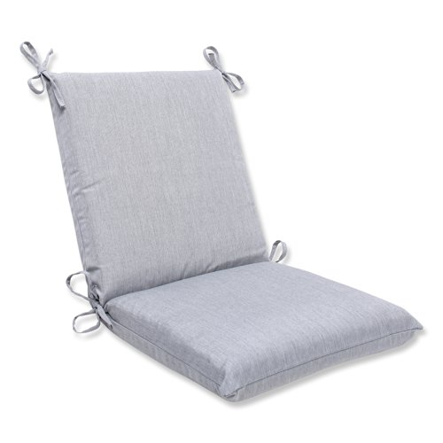 Back Cushion Canvas (Pillow Perfect Squared Corners Chair Cushion with Grey Sunbrella)