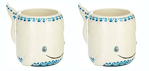 Natural Life Whale Folk Art Mug Set of Two(2)