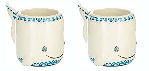 Natural Life Whale Folk Art Mug Set of Two(2)