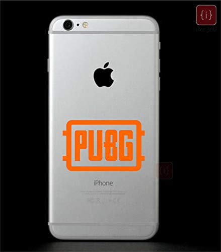 ISEE 360® PlayerUnknown's Battlegrounds Pubg Sticker for Mobile Color -Orange Vinyl Decals L x H (7.50 cm X 4.50 cm)