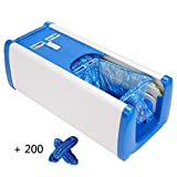 Drag Shoe Cover Machine Dispenser Automatic Home Medical Anti Slip Anti-Wear Safety Mute, 200 Disposable Plastic Shoe Covers, Unisex Disposable Forming Foot Mould (18x9x7 in),Blue