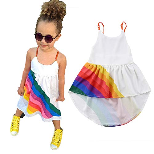 Newborn Infant Baby Girls Summer Dress Rainbow Print Strap Pirncess Dress Formal Pageant Floral Tutu Skirt Outfit (12-18 Months, Rainbow Print Strap -