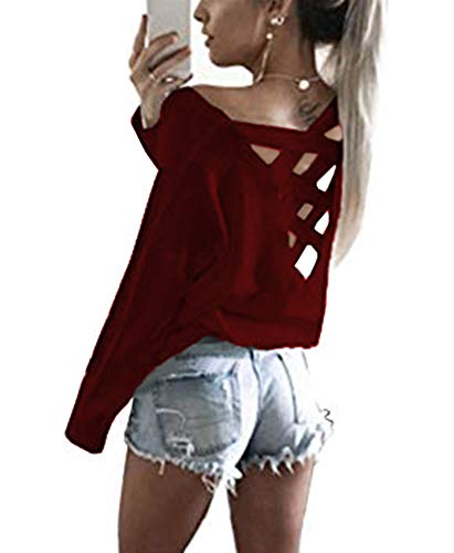 - Yingkis Women's Cut Out Loose Pullover Criss Cross Backless Sweater Shirt Top,Wine Red L