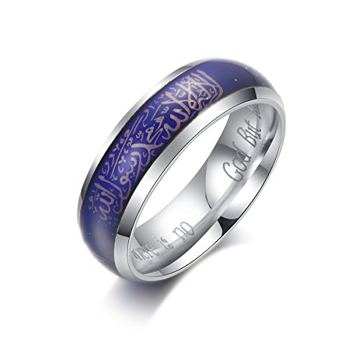 KAIYUFU Jewelers 6mm Emotional Color Changing Body Temperature Mood Stainless Steel Men Women Muslim Allah Messenger Believer Islamic Ring Silver Size 9 by KAIYUFU Jewelers